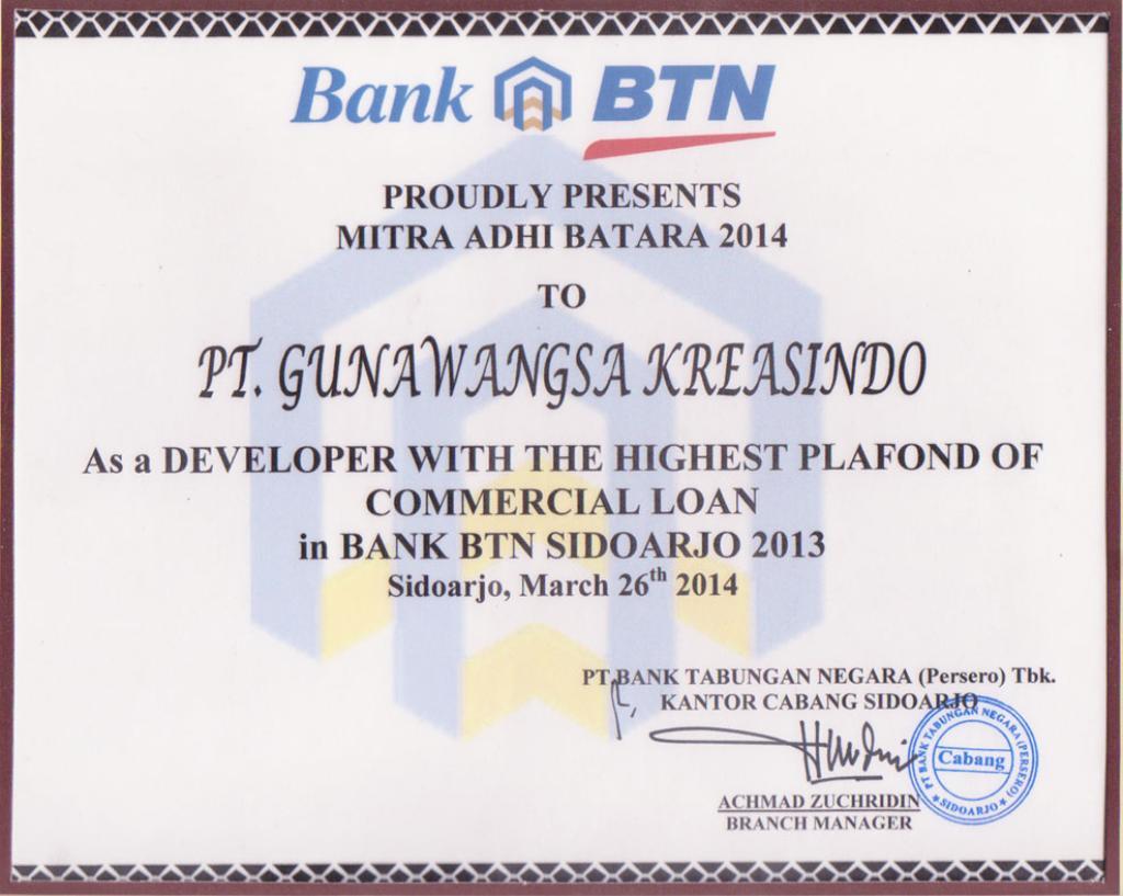 Proudly Presents Mitra Adhi Batara 2014 to PT. Gunawangsa Kreasindo